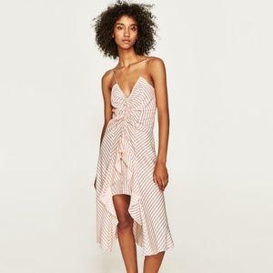 NWT Zara Size S Strappy Asymmetrical Striped Dress